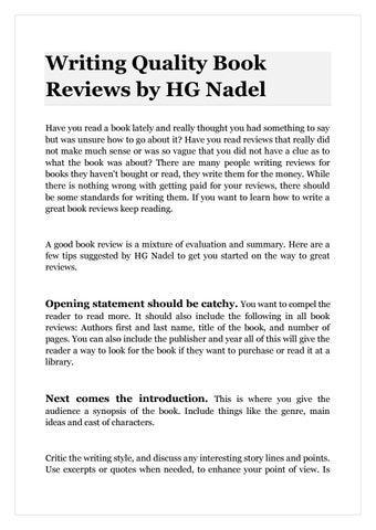 writing book reviews