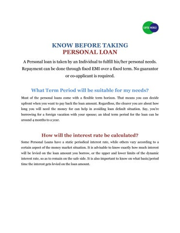 CapitaWorld - Know Before Taking Personal Loan by