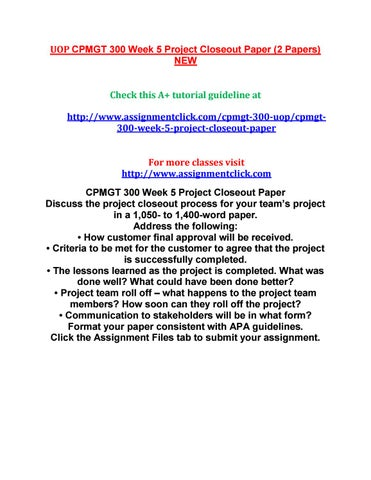 Uop Cpmgt  Week  Project Closeout Paper By Reginaldcarterr  Issuu
