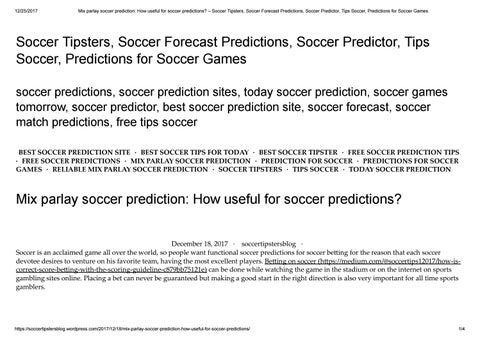 Mix parlay soccer prediction how useful for soccer