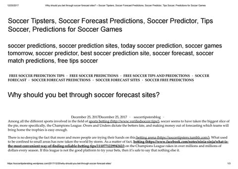 Why should you bet through soccer forecast sites by soccertipsters