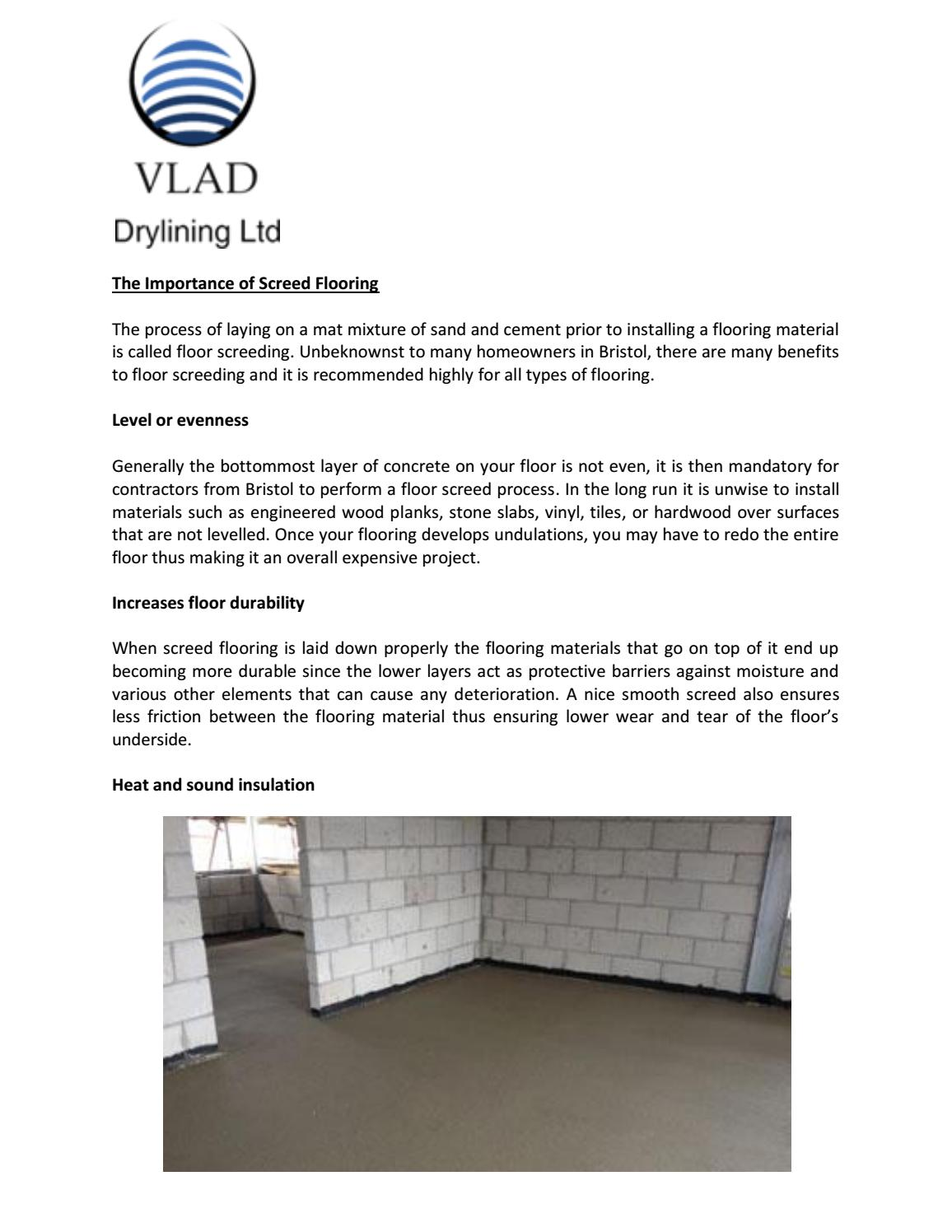 The Importance Of Screed Flooring By Vlad Drylining Ltd Issuu
