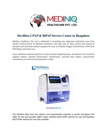 Devilbiss CPAP & BIPAP Service Centre in Bangalore by