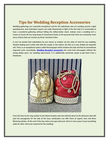 Tips For Wedding Reception Accessories By Indiaethnix Issuu