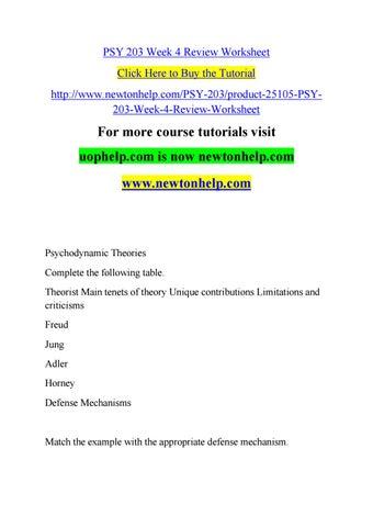 Psy 203 Week 4 Review Worksheet By
