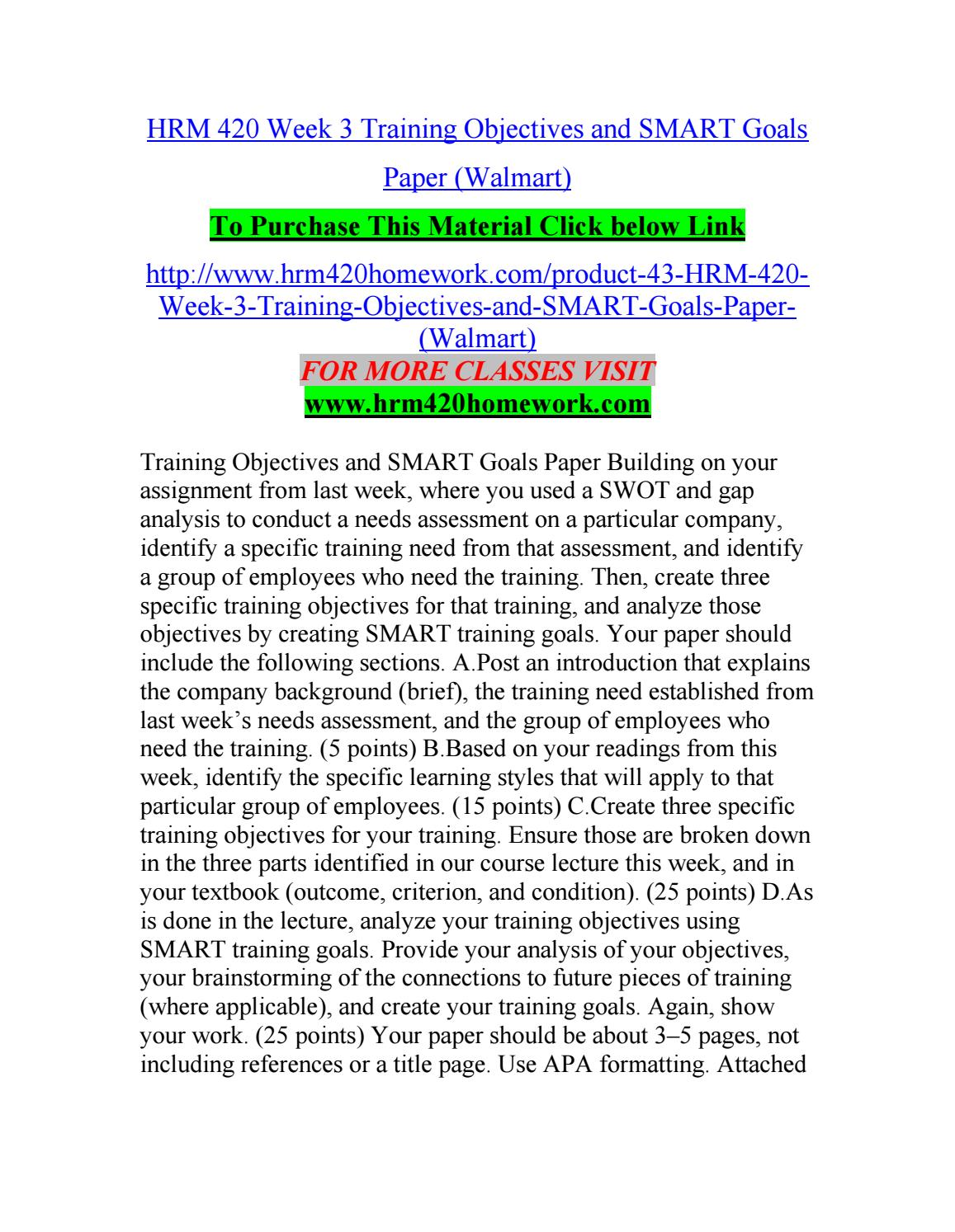 Hrm 420 week 3 training objectives and smart goals paper