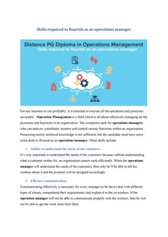 Skills required for effective operational management | MIT School Of