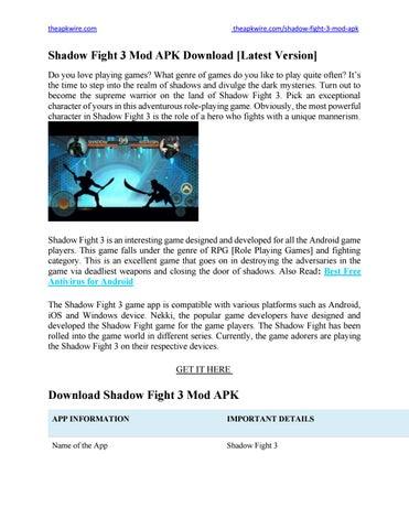 download mod apk shadow fight 3 1.6.2