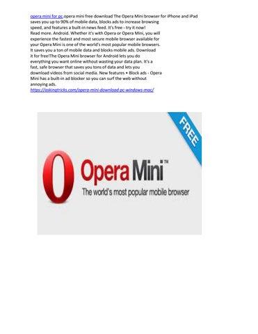 Opera mini for pc by kristzunsrd - issuu