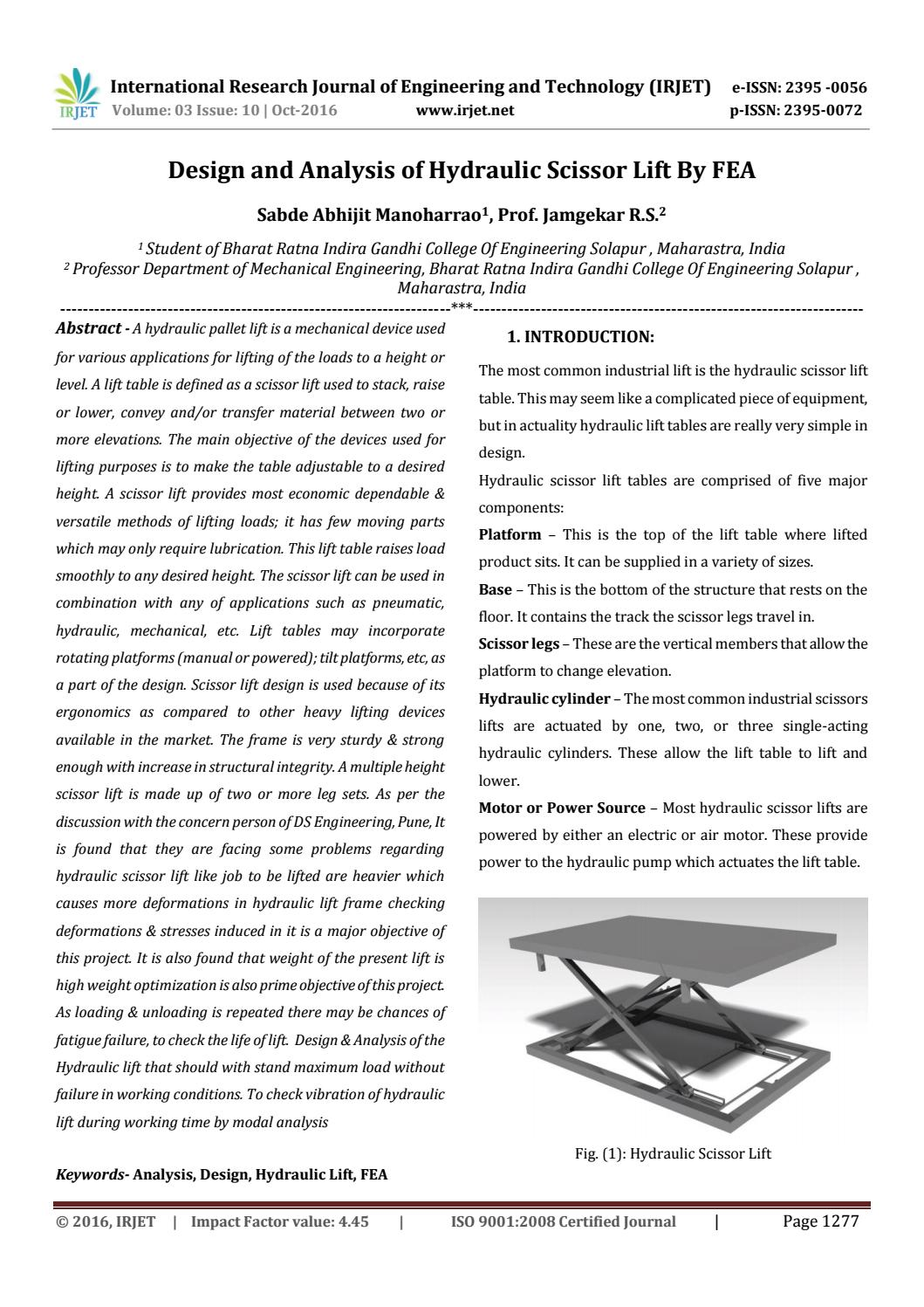 Design and Analysis of Hydraulic Scissor Lift By FEA by