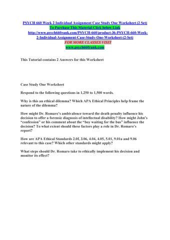 case study one worksheet psych 660