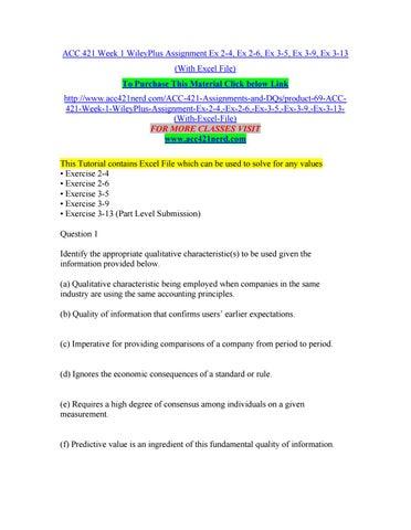 Acc 421 Week 1 Wileyplus Assignment Ex 2 4 Ex 2 6 Ex 3 5