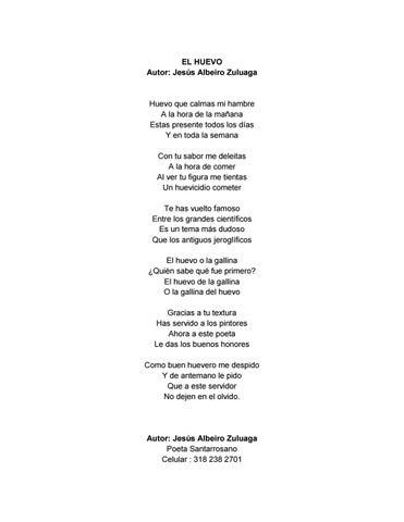 Poema Al Huevo By Culturayturismo Santarosa Decabal Issuu