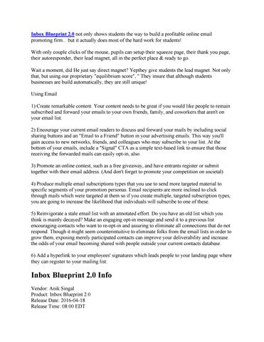 Inbox blueprint 2 0 review do we like it by john steve issuu inbox blueprint 20 not only shows students the way to build a profitable online email promoting firm but it actually does most of the hard work for malvernweather Gallery