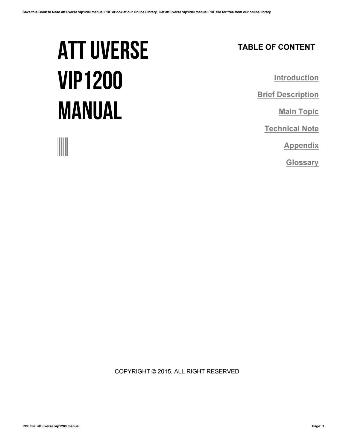 att uverse vip1200 manual by freemail93