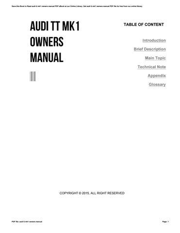 audi tt mk1 owners manual by freemail93 issuu rh issuu com manuel atelier audi tt mk1 manuel atelier audi tt mk1