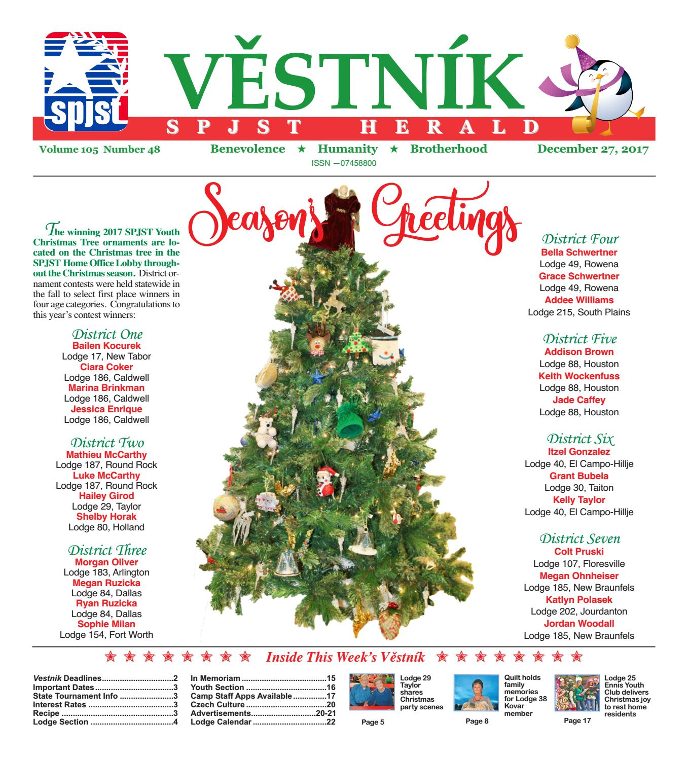 Vfw Post 2872 Entertainment December 2020 Calendar Vestnik 2017.12.27 by SPJST   issuu
