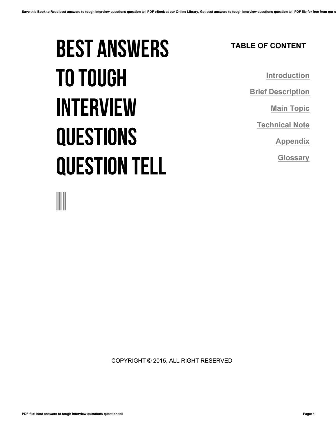 Best Answers To Tough Interview Questions Question Tell By O828
