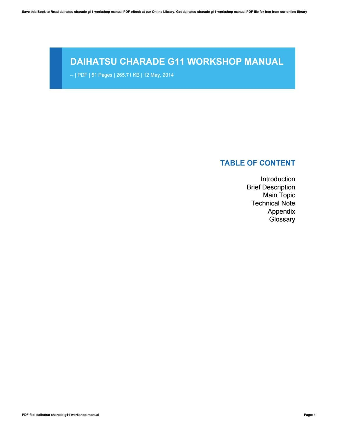 daihatsu charade g11 workshop manual by pejovideomaker9 issuu Daihatsu Bego