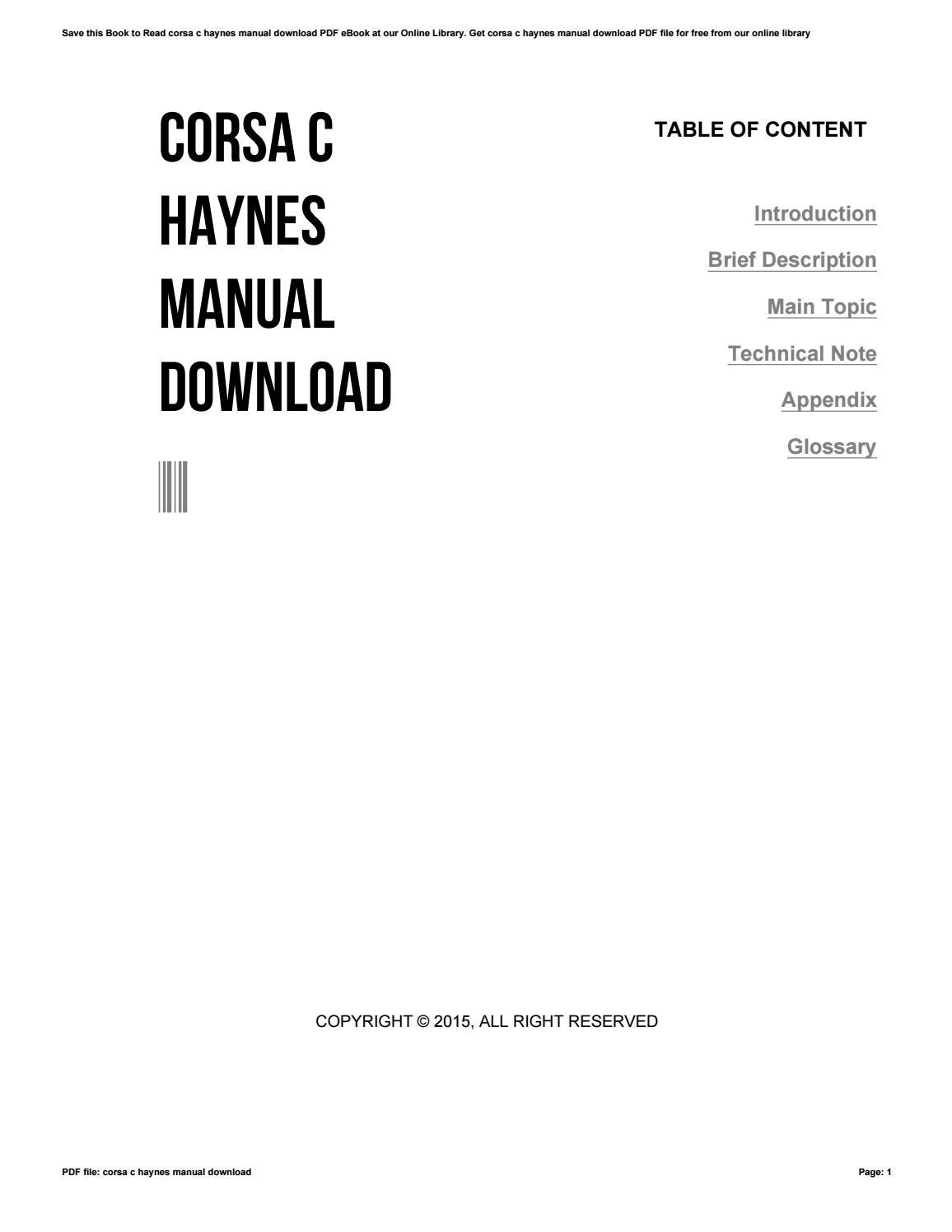 corsa c haynes manual free download