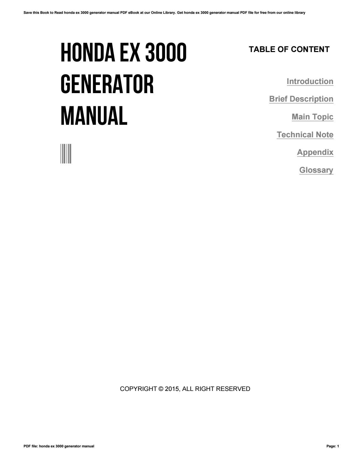 honda ex 3000 generator manual by te71 issuu