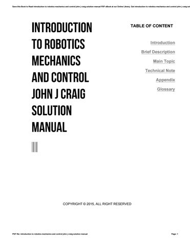 introduction to robotics mechanics and control john j craig solution rh issuu com robotics craig solution manual pdf solution manual introduction to robotics craig