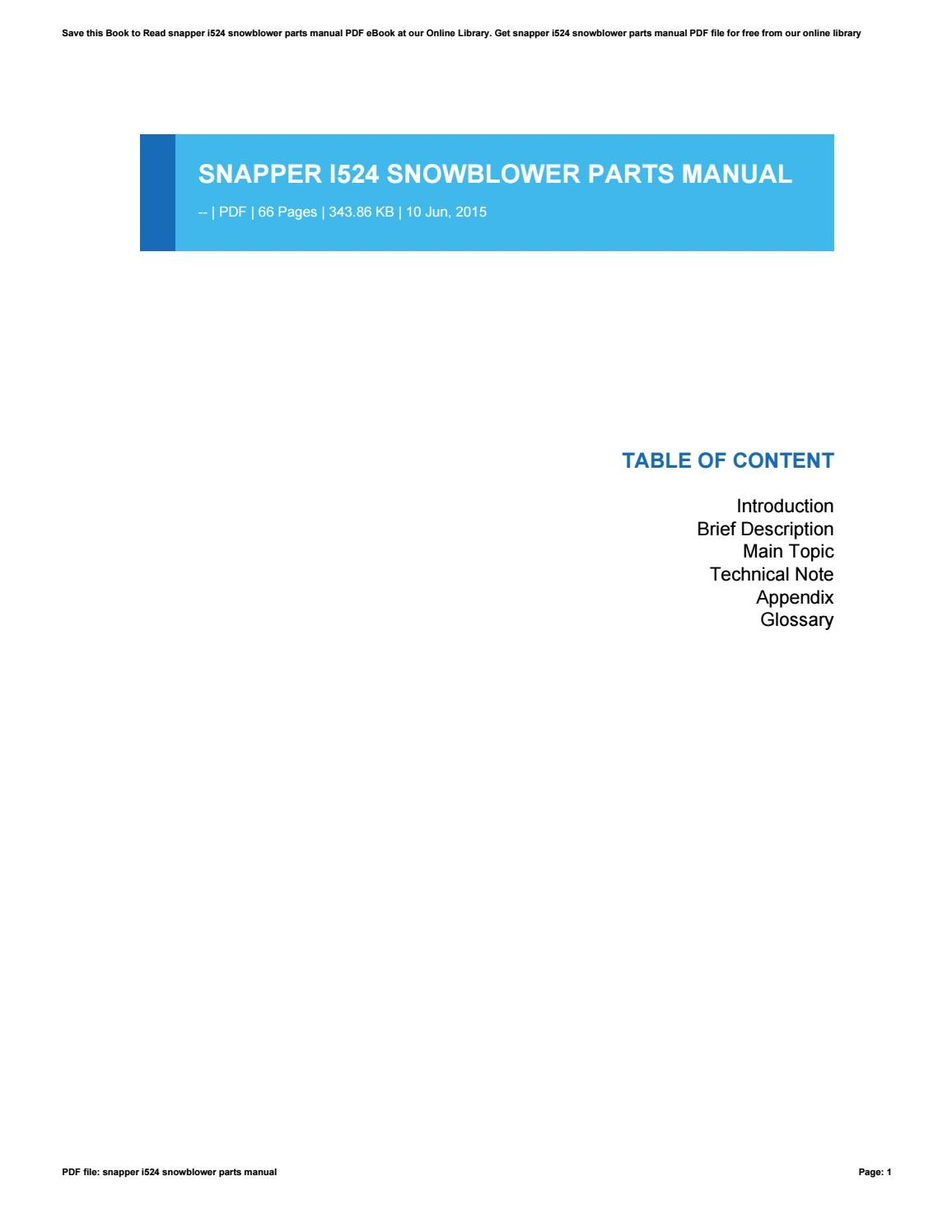 Snapper I524 Snowblower Parts Manual By N4200 Issuu Diagram