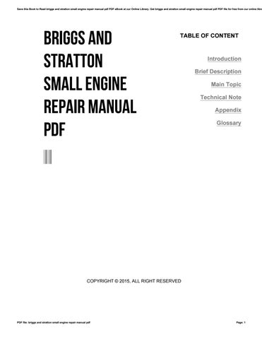Briggs and stratton small engine repair manual pdf by cutout6 issuu save this book to read briggs and stratton small engine repair manual pdf pdf ebook at our online library get briggs and stratton small engine repair fandeluxe Image collections