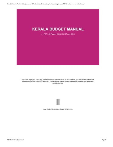 kerala budget manual