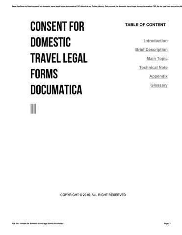 Consent For Domestic Travel Legal Forms Documatica By Aju Issuu - Get legal forms