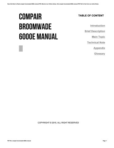 compair broomwade 6000e manual