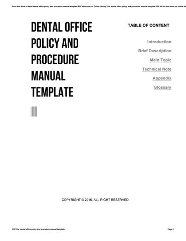 Dental Office Policy And Procedure Manual Template By Zhcne  Issuu