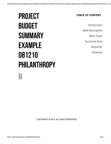 Project budget summary example 081210 philanthropy by o086 - issuu