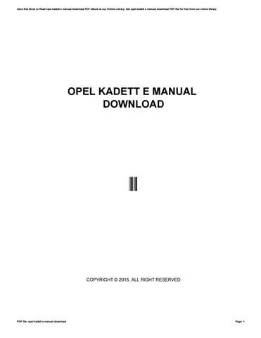 Opel astra g werkstatthandbuch download by mankyrecords0 issuu opel kadett e manual download fandeluxe Image collections