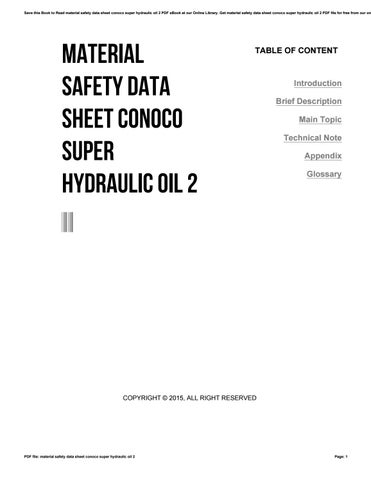 Material safety data sheet conoco super hydraulic oil 2
