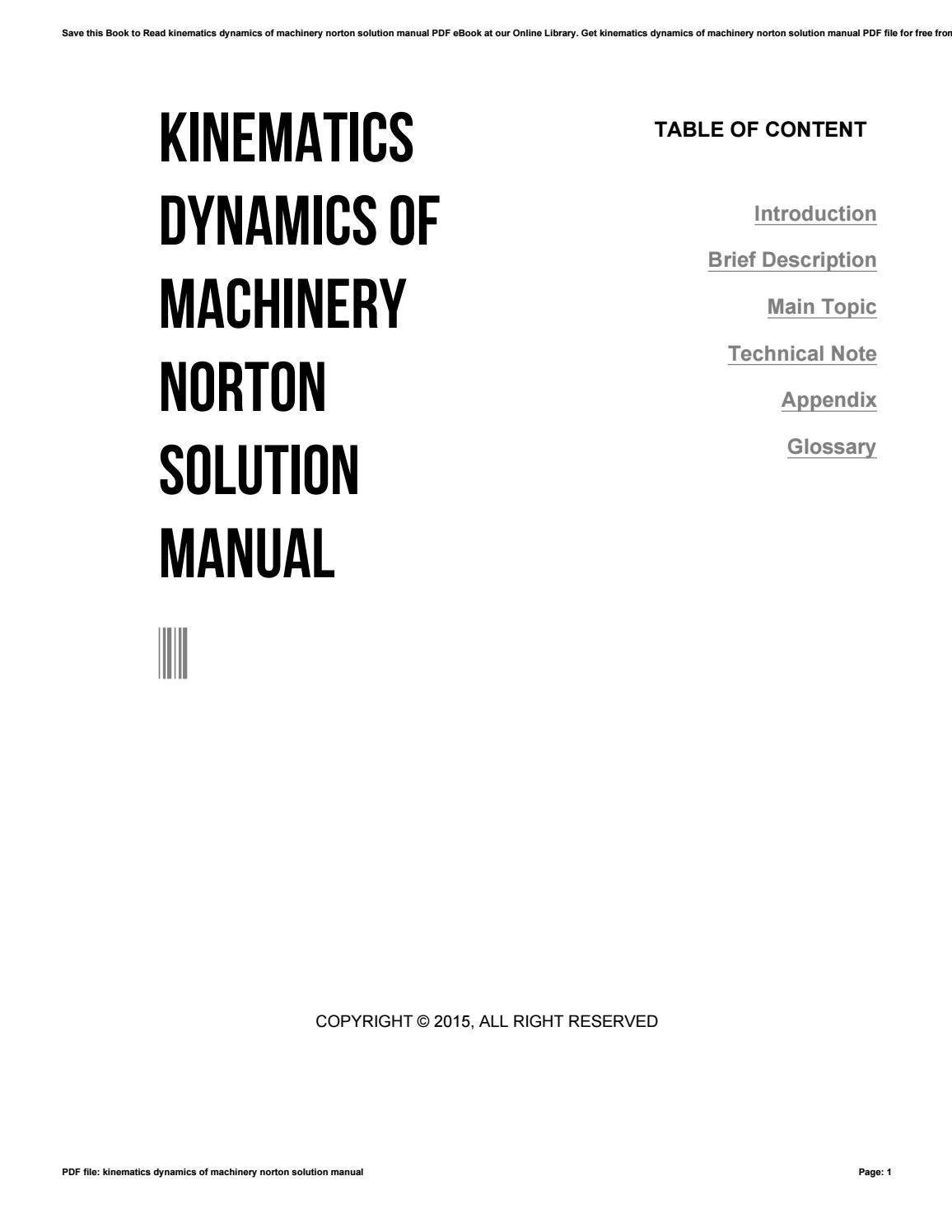 Kinematics dynamics of machinery norton solution manual by lordsofts2 -  issuu