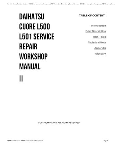 daihatsu cuore l500 l501 service repair workshop manual by rh issuu com daihatsu cuore maintenance manual daihatsu cuore maintenance manual