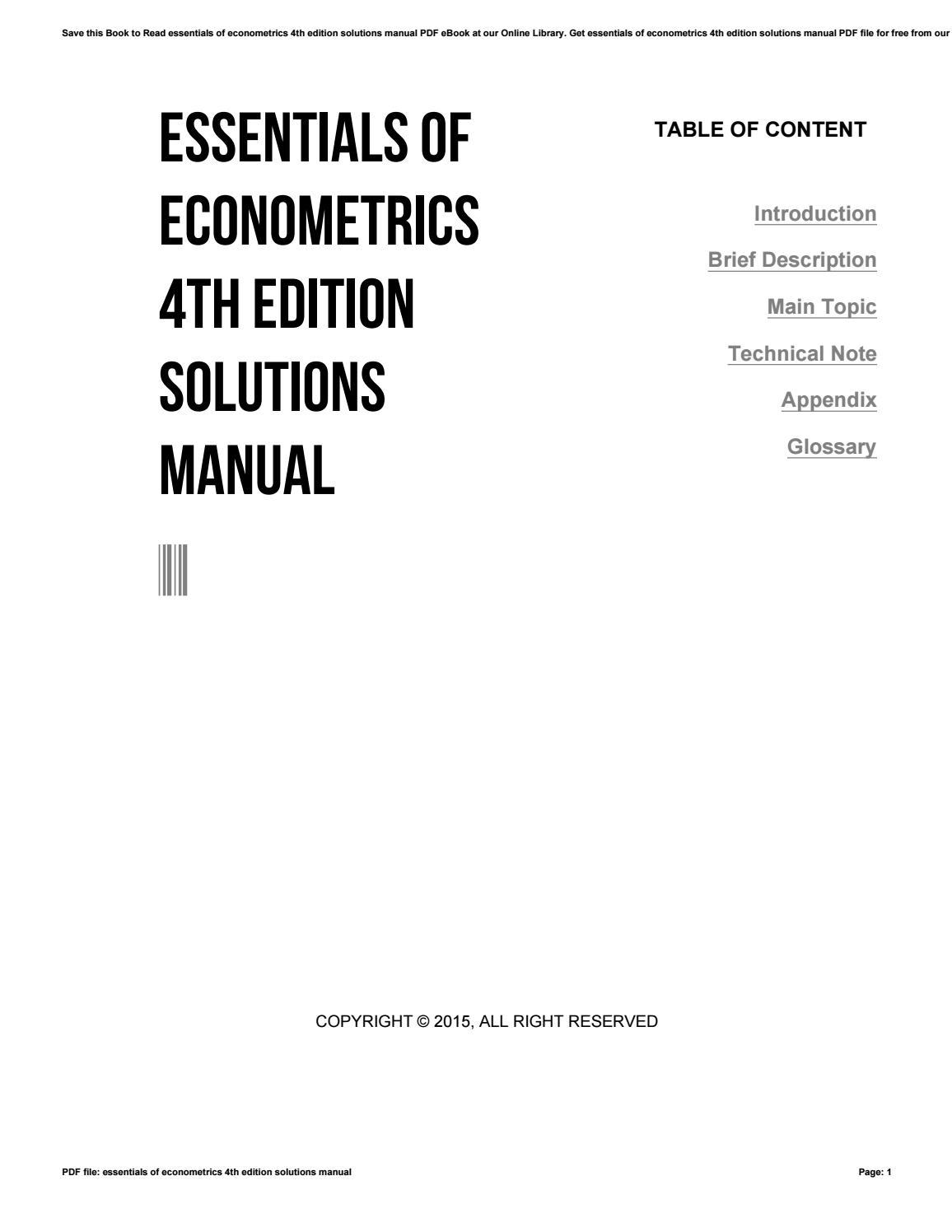 Essentials Of Econometrics 4th Edition Solutions Manual By E Mailbox6 Issuu