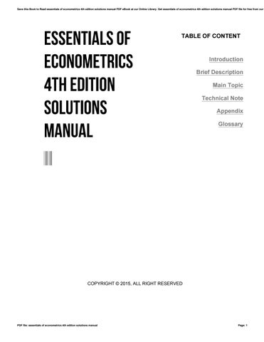 Essentials Of Econometrics 4th Edition Solutions Manual By E