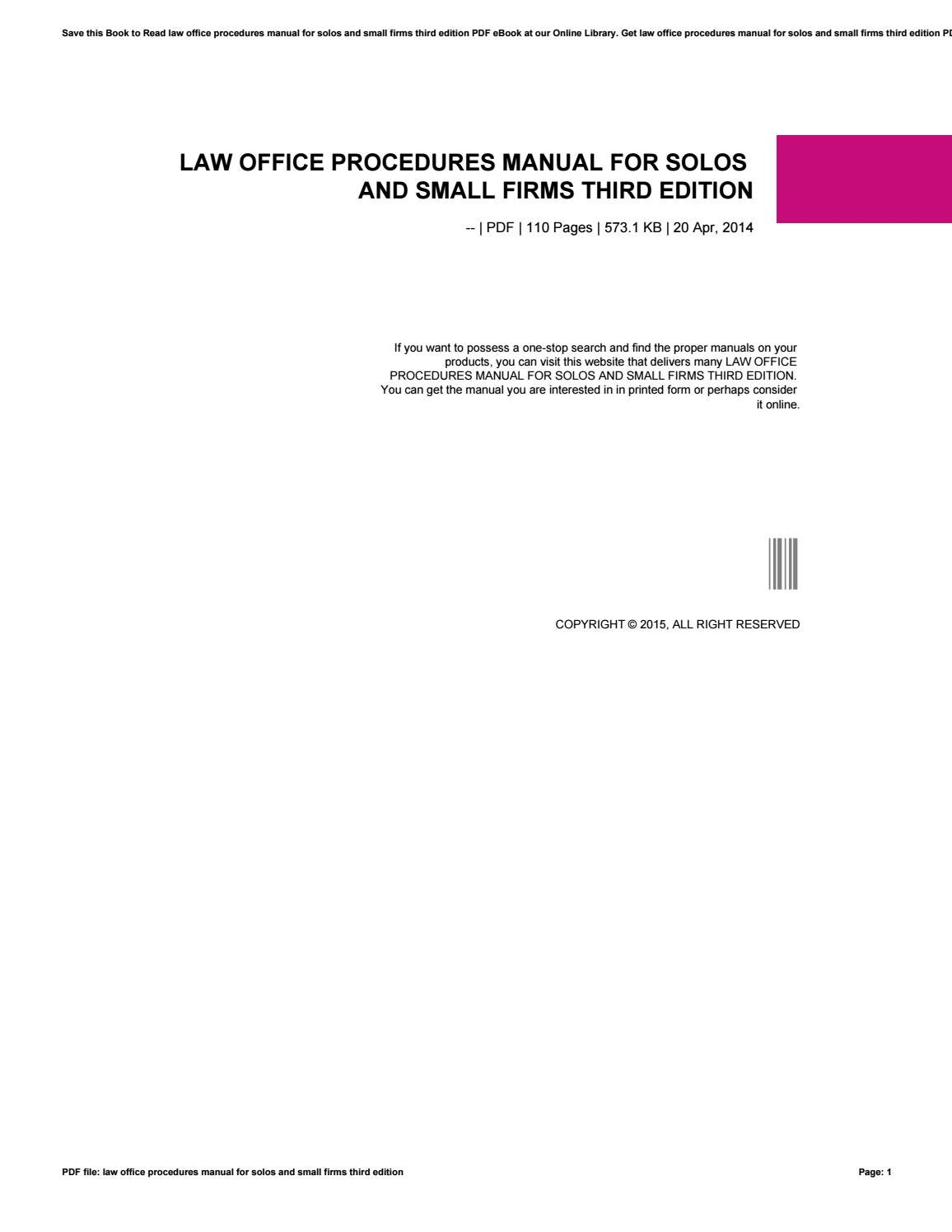 Law office procedures manual for solos and small firms third edition by  rblx83 - issuu