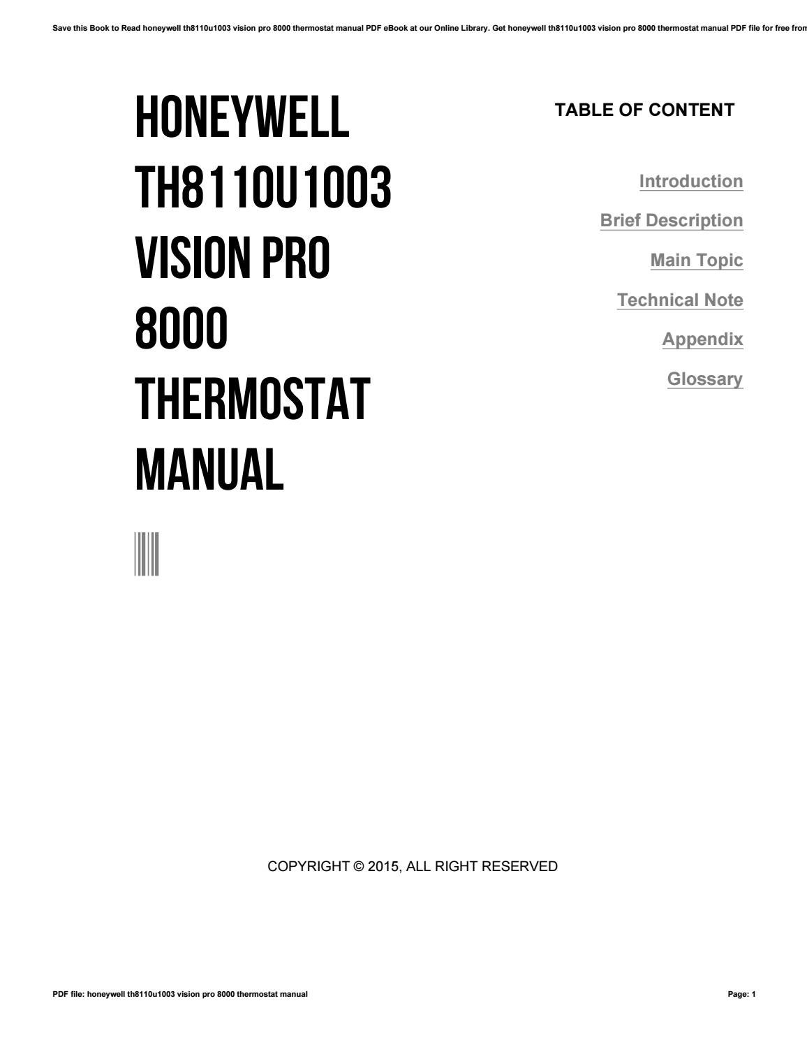 Honeywell th8110u1003 vision pro 8000 thermostat manual by e-mailbox6 -  issuu