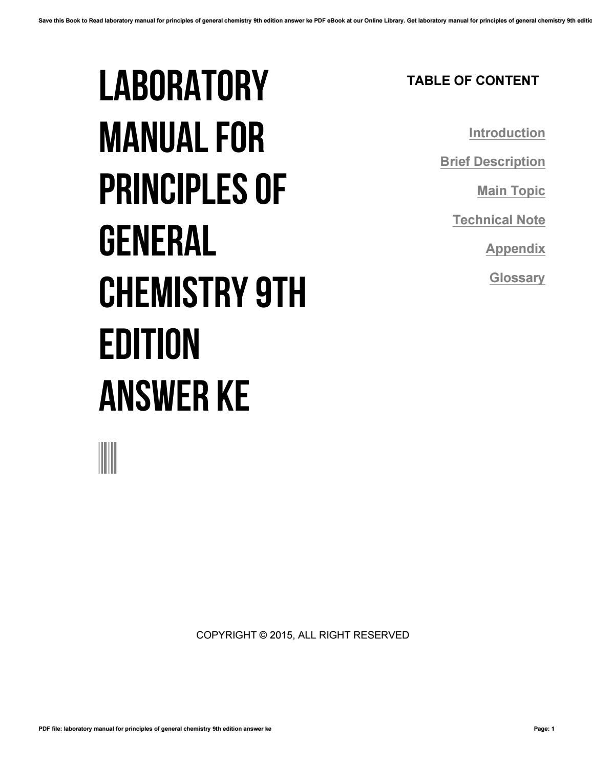 Laboratory manual for principles of general chemistry 9th edition answer ke  by sroff5 - issuu