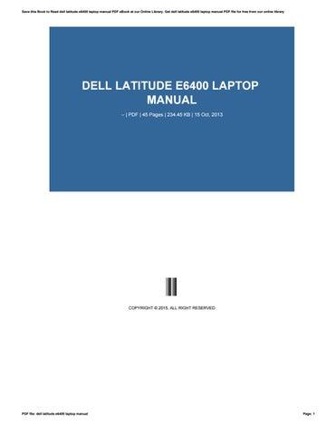 Dell laptop Latitude E6400 Manual