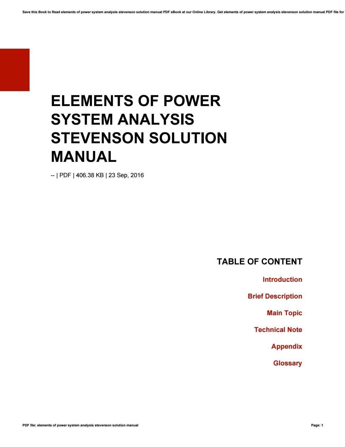 Elements of power system analysis stevenson solution manual by  morriesworld6 - issuu