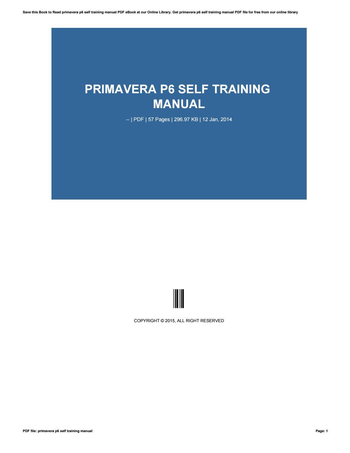 Primavera P6 Training Manual pdf