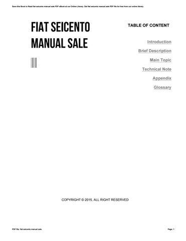 fiat seicento manual sale by toon13 issuu rh issuu com Fiat Seicento Sportello Perno Cerniera Inside Fiat Seicento
