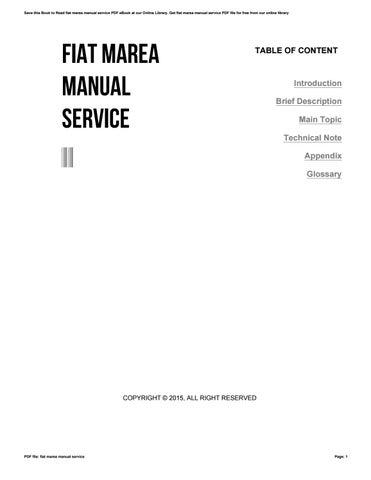 fiat marea manual service by toon13 issuu rh issuu com service manual fiat marea weekend service manual fiat marea weekend