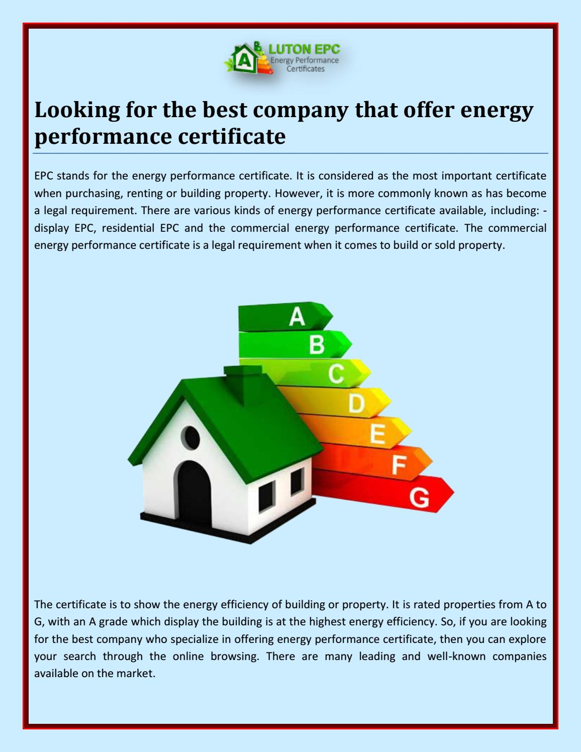 Looking For The Best Company That Offer Energy Performance