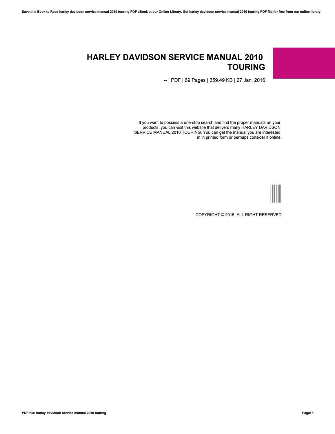 2016 harley davidson touring service manual