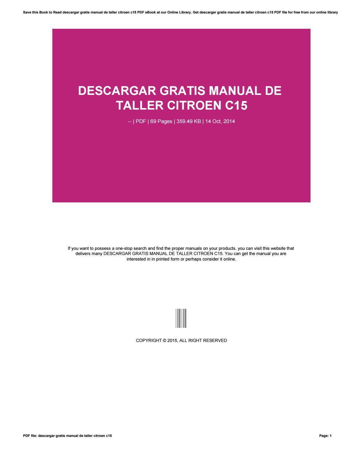 Descargar Gratis Manual De Taller Citroen C15 By O0114